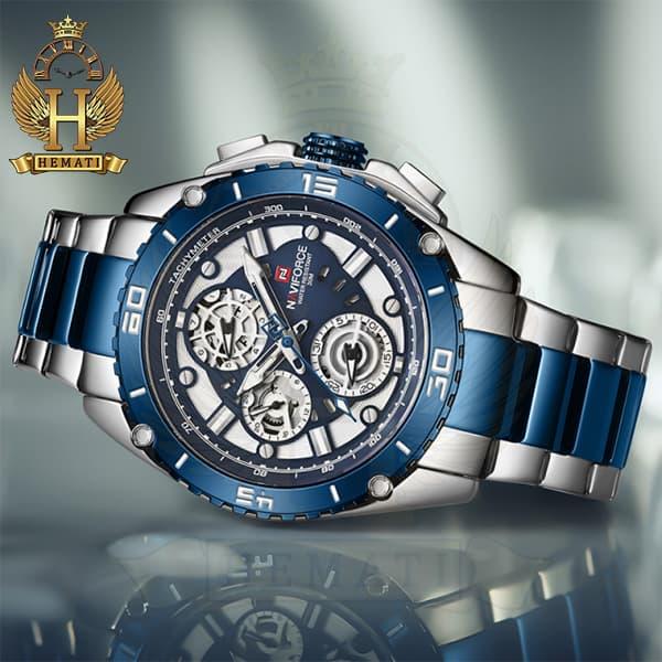 خرید ارزان ساعت مچی مردانه نیوی فورس مدل naviforce nf9179m نقره ای آبی 3موتوره فعال
