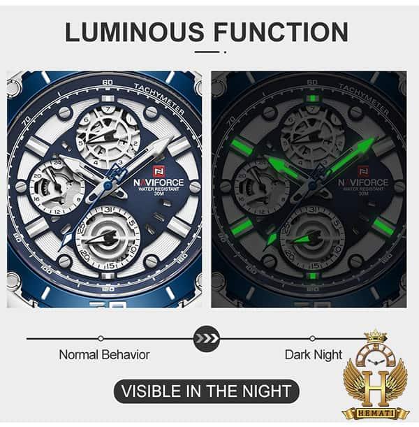 خرید ساعت مردانه نیوی فورس مدل naviforce nf9179m نقره ای آبی 3موتوره فعال