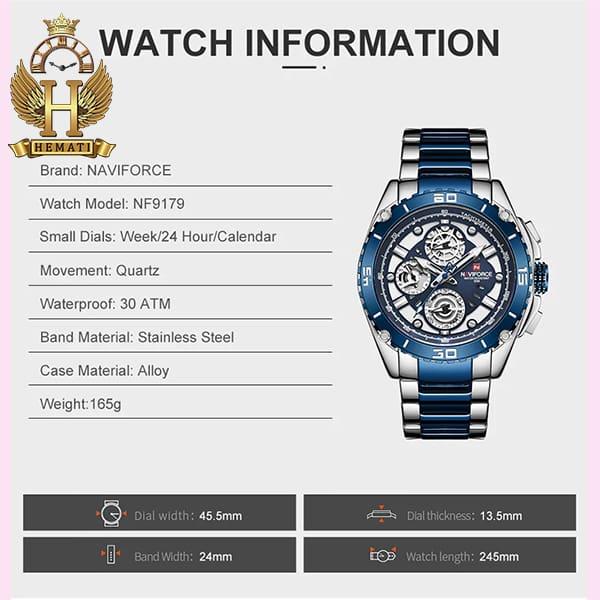 قیمت ساعت مردانه نیوی فورس مدل naviforce nf9179m نقره ای آبی 3موتوره فعال