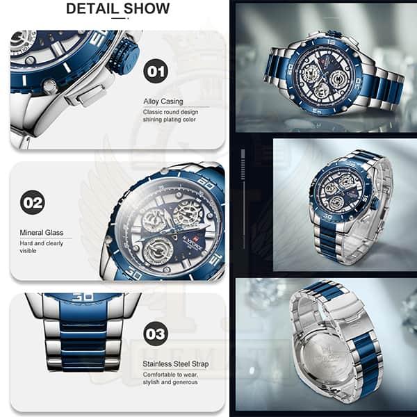 خرید اینترنتی ساعت مردانه نیوی فورس مدل naviforce nf9179m نقره ای آبی 3موتوره فعال