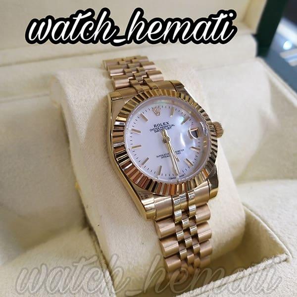 ساعت زنانه رولکس دیت جاست Rolex Datejust RODJL32200 طلایی ایندکس خط ،قطر 32 میلیمتر