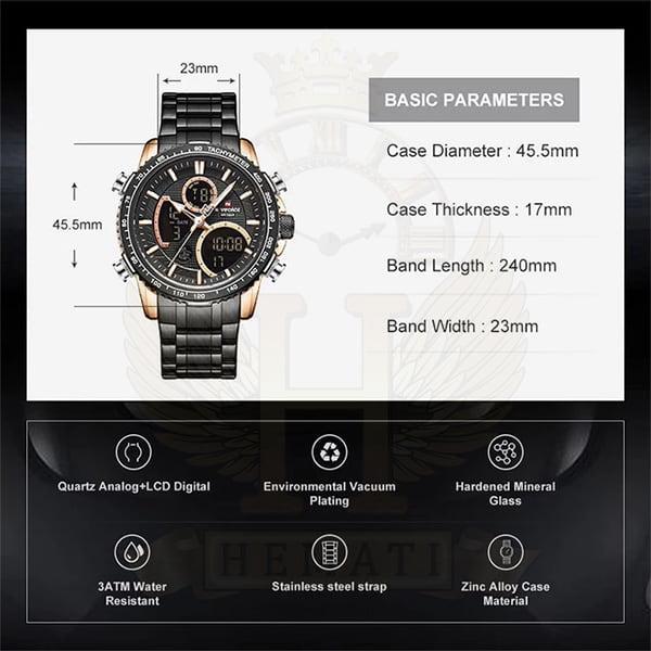 مشخصات ساعت مردانه دو زمانه نیوی فورس مدل naviforce nf9182m مشکی رزگلد
