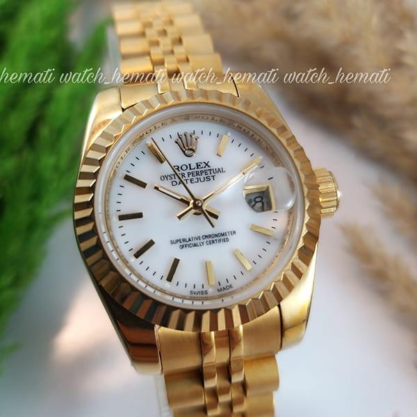 خرید انلاین ساعت زنانه رولکس دیت جاست Rolex Datejust RODJL26200 طلایی ایندکس خط ، قطر 26 میلیمتر