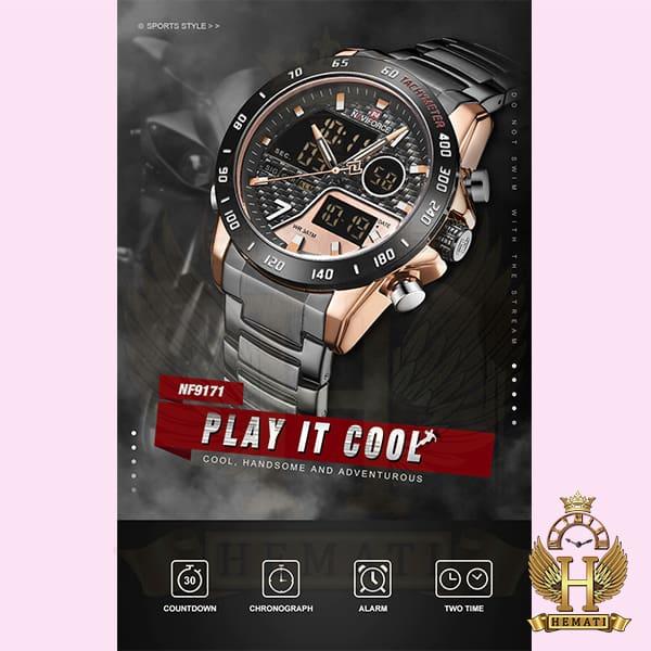 قیمت ساعت مردانه نیوی فورس دو زمانه مدل naviforce nf9171m مشکی رزگلد