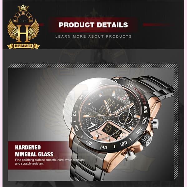 خرید اینترنتی ساعت مردانه نیوی فورس دو زمانه مدل naviforce nf9171m مشکی رزگلد