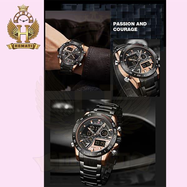 خرید انلاین ساعت مردانه نیوی فورس دو زمانه مدل naviforce nf9171m مشکی رزگلد