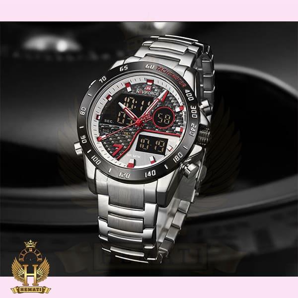 خرید ساعت مچی مردانه نیوی فورس دو زمانه nf9171m دارای آلارم تقویم کورنوگراف و چراغ دید در شب به رنگ نقره ای مشکی