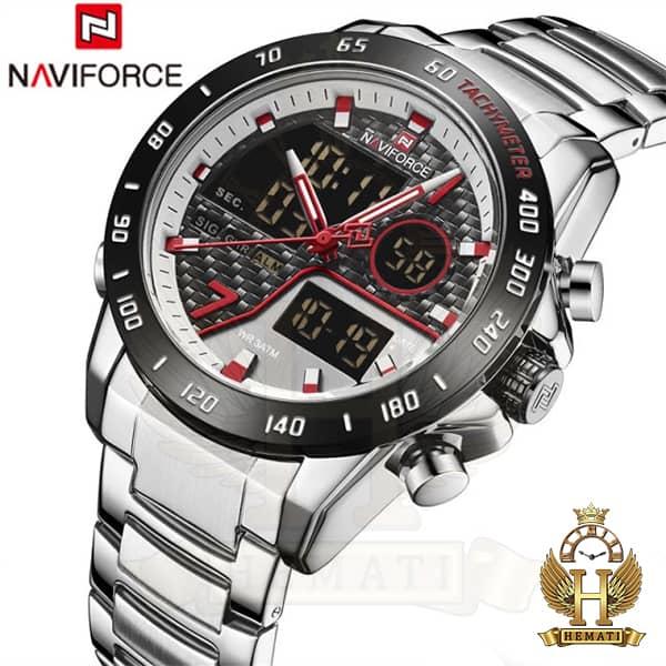 خرید انلاین ساعت مچی مردانه نیوی فورس دو زمانه مدل naviforce nf9171m نقره ای مشکی