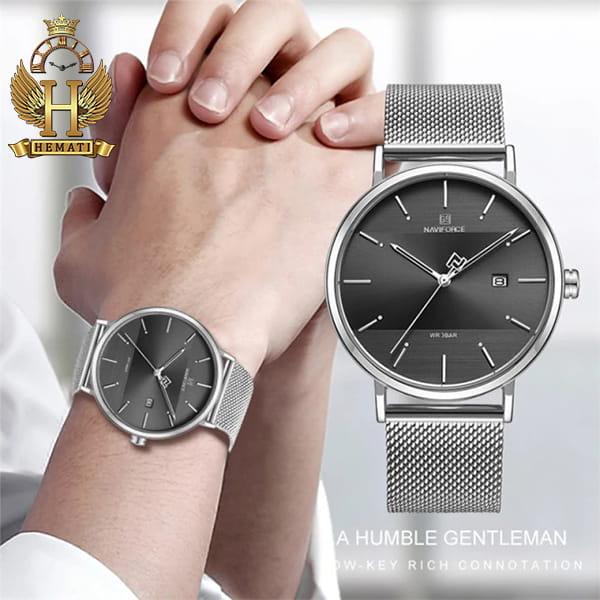 مشخصات ساعت ست مردانه و زنانه نیوی فورس Naviforce NF3008 صفحه مشکی و قاب و بند نقره ای