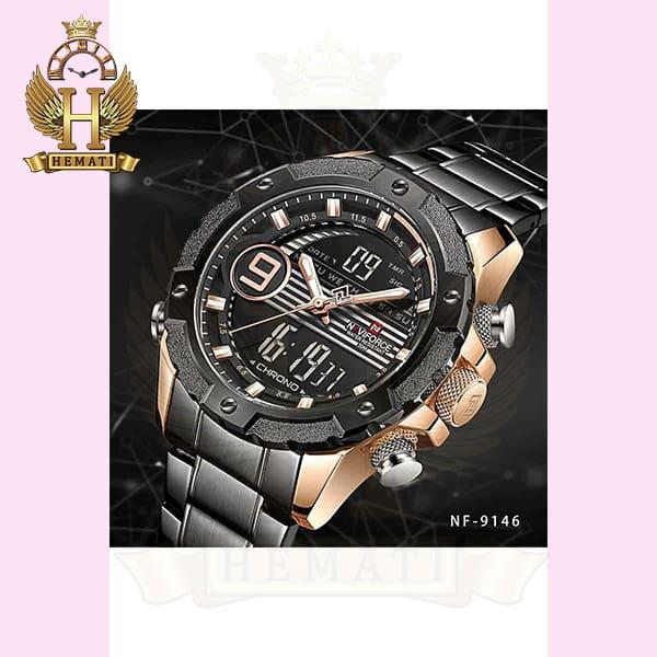 خرید انلاین ساعت مردانه نیوی فورس دو زمانه مدل naviforce nf9146m مشکی رزگلد