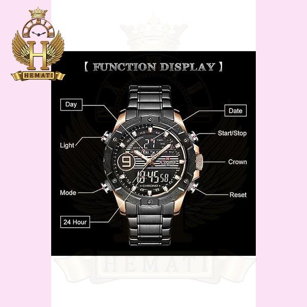 خرید اینترنتی ساعت مردانه نیوی فورس دو زمانه مدل naviforce nf9146m مشکی رزگلد