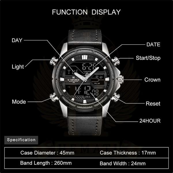 نماینگی ساعت مردانه نیوی فورس مدل naviforce nf9138m نقره ای مشکی