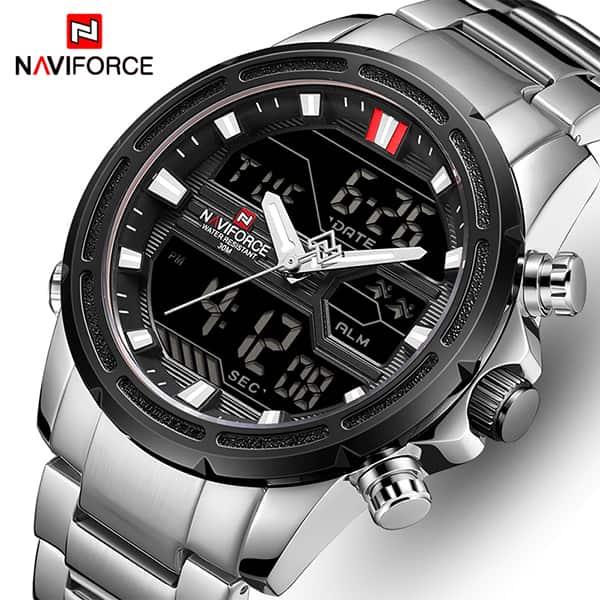 خرید ساعت مچی مردانه نیوی فورس مدل naviforce nf9138m نقره ای مشکی