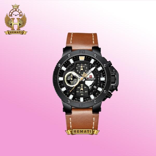 ساعت مردانه Naviforce NF9159M به رنگ بند قهوه ای چرم صفحه مشکی