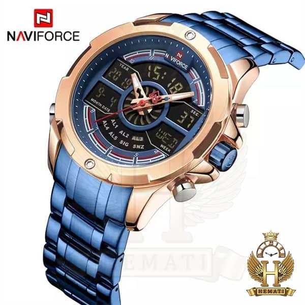 قیمت ساعت مردانه نیوی فورس دو زمانه مدل naviforce nf9170m قاب رزگلد با بند سرمه ای