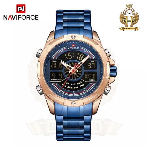خرید انلاین ساعت مردانه نیوی فورس دو زمانه مدل naviforce nf9170m قاب رزگلد با بند سرمه ای