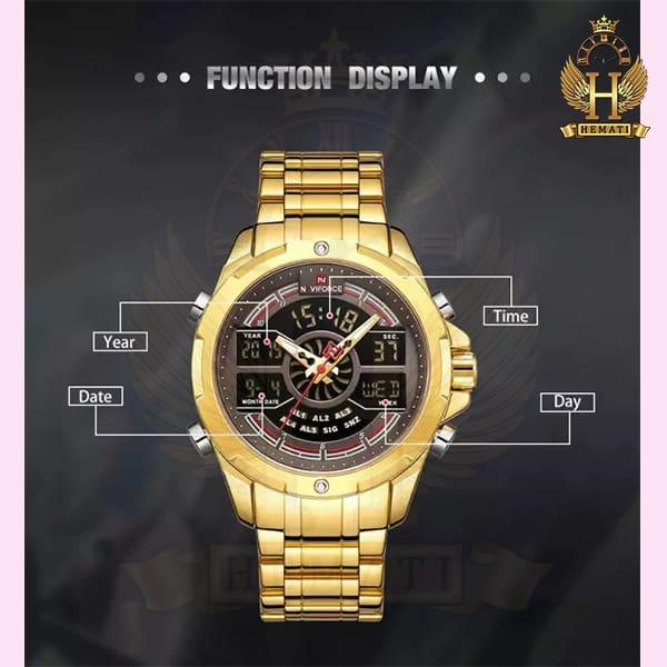 مشخصات ساعت مردانه نیوی فورس دو زمانه مدل naviforce nf9170m قاب و بند طلایی