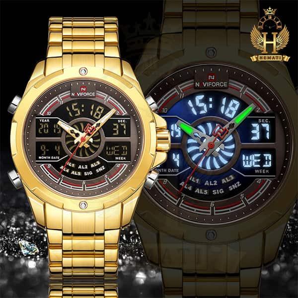 خرید اینترنتی ساعت مردانه نیوی فورس دو زمانه مدل naviforce nf9170m قاب و بند طلایی