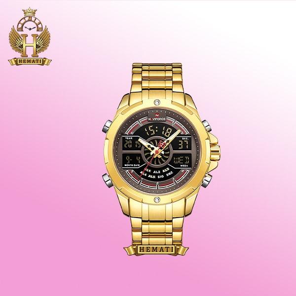 ساعت مردانه دوزمانه NF9170M نوی فورس طلایی شیک