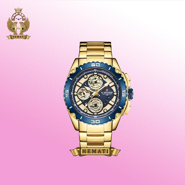 خرید ساعت مچی مردانه نیوی فورس nf9179m به رنگ طلایی و آبی