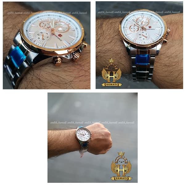 خرید ساعت مچی مردانه نیوی فورس مدل naviforce nf99089m قاب و بند نقره ای و رزگلد