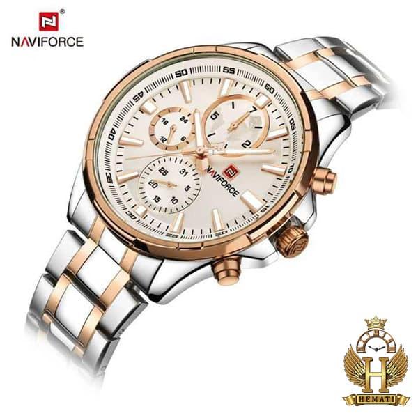 خرید اینترنتی ساعت مچی مردانه نیوی فورس مدل naviforce nf99089m قاب و بند نقره ای و رزگلد
