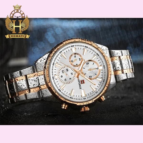 قیمت و مشخصات ساعت مچی مردانه نیوی فورس مدل naviforce nf99089m قاب و بند نقره ای و رزگلد