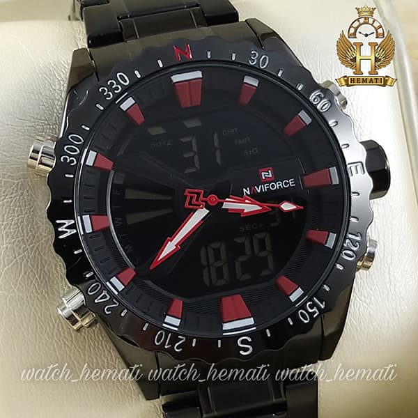 قیمت ساعت مردانه نیوی فورس مدل naviforce nf9136m مشکی ایندکس قرمز