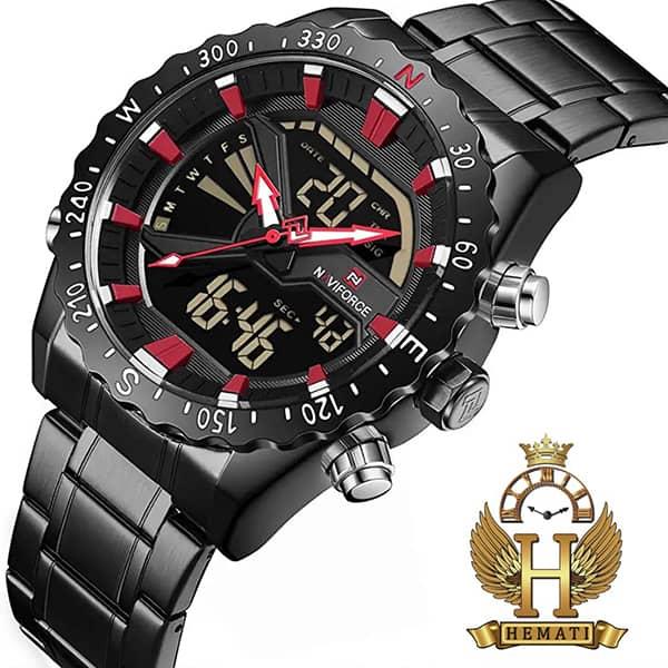 خرید ارزان ساعت مردانه نیوی فورس مدل naviforce nf9136m مشکی ایندکس قرمز