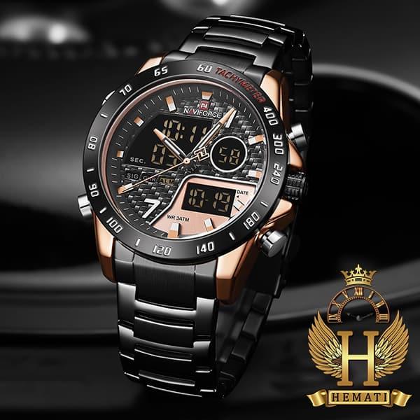 خرید ساعت مردانه نیوی فورس دو زمانه مدل naviforce nf9171m مشکی رزگلد