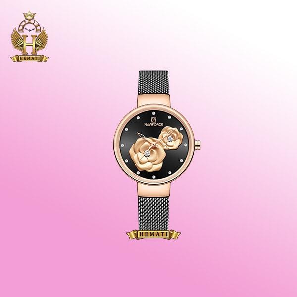 ساعت زنانه نوی فورس NF5013L مشکی با طرح گل روی صفحه