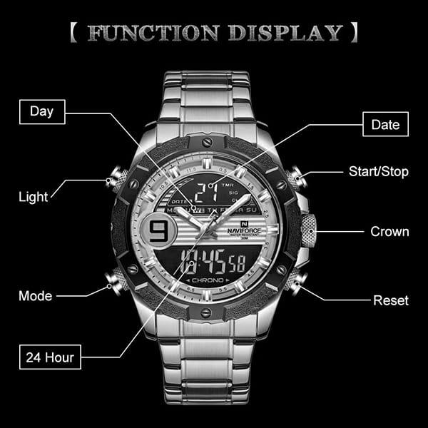 ساعت مردانه نیوی فورس دو زمانه مدل naviforce nf9146m مشکی رزگلد