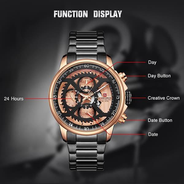 ساعت مردانه نیوی فورس مدل naviforce nf9150m مشکی رزگلد