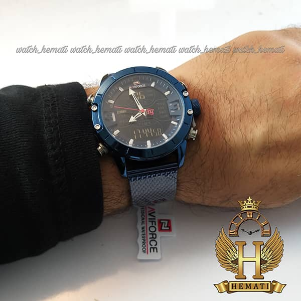 نمایندگی خرید ساعت مردانه نیوی فورس دو زمانه مدل naviforce nf9146m تمام سرمه ای بند حصیری
