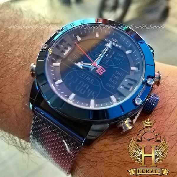 خرید انلاین ساعت مردانه نیوی فورس دو زمانه مدل naviforce nf9146m تمام سرمه ای بند حصیری