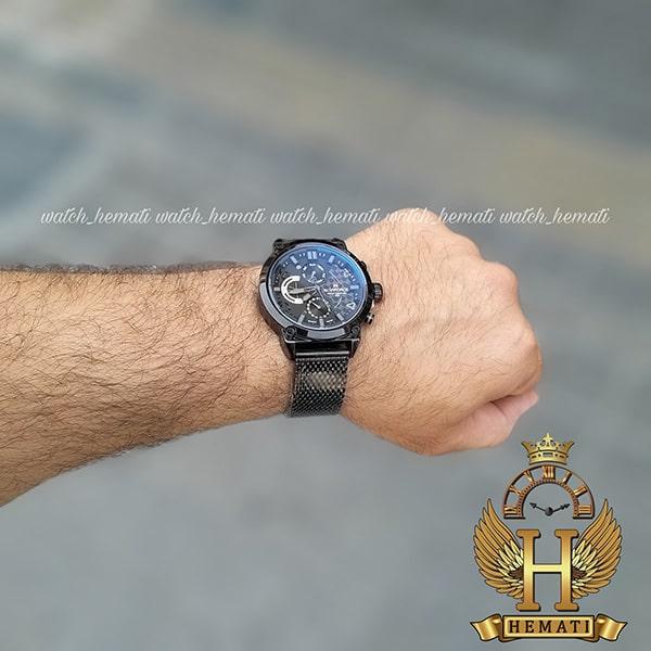 خرید ساعت مردانه نیوی فورس مدل naviforce nf9068 قاب مشکی با بند حصیری مشکی