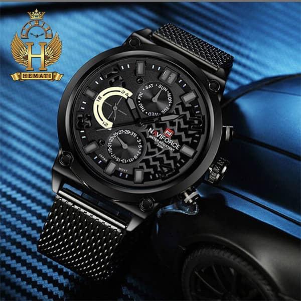 قیمت ساعت مردانه نیوی فورس مدل naviforce nf9068 قاب مشکی با بند حصیری مشکی