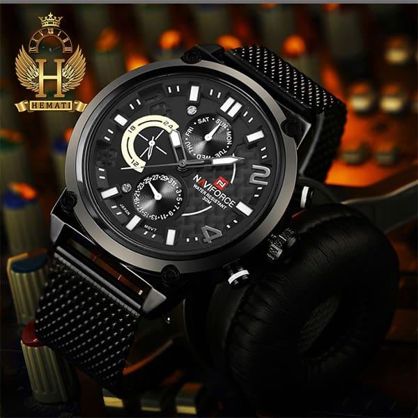 خرید اینترنتی ساعت مردانه نیوی فورس مدل naviforce nf9068 قاب مشکی با بند حصیری مشکی