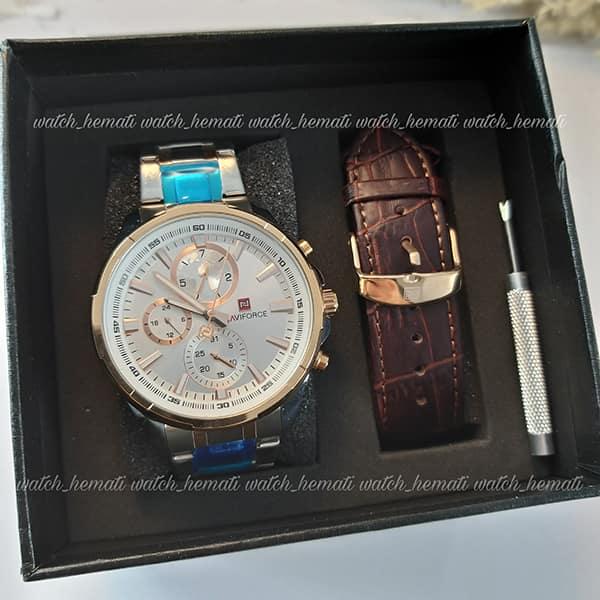 خرید اینترنتی ساعت مردانه نیوی فورس مدل naviforce nf99089m قاب و بند نقره ای و رزگلد