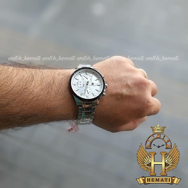 ساعت مردانه نیوی فورس مدل naviforce nf99089m قاب و بند نقره ای و دور قاب مشکی