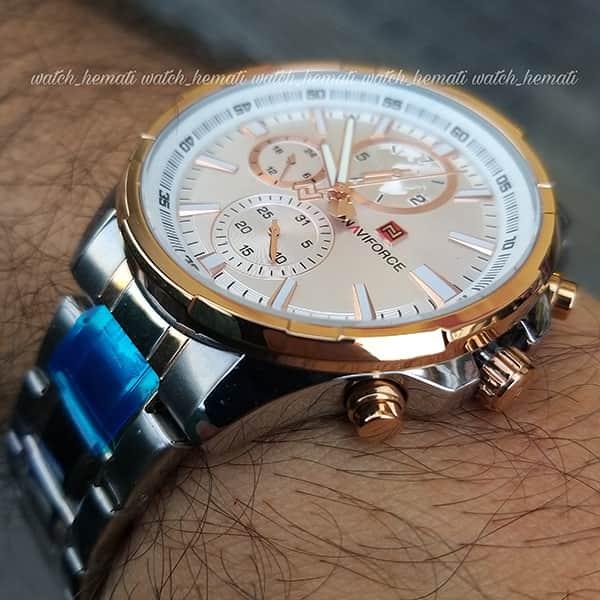 قیمت ساعت مردانه نیوی فورس مدل naviforce nf99089m قاب و بند نقره ای و رزگلد