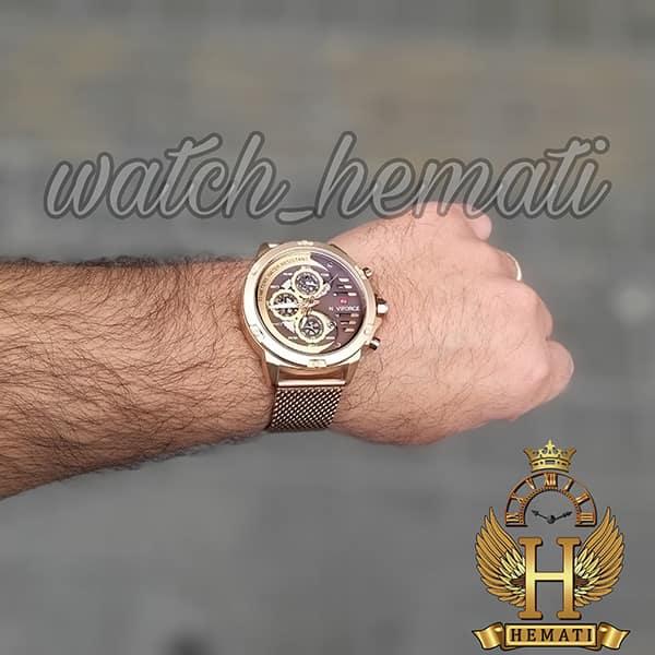 مشخصات ساعت مردانه نیوی فورس مدل naviforce nf9110m رزگلد بند حصیری