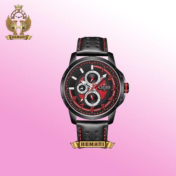 خرید ساعت مچی مردانه NF9142M نوی فورس بند و قاب مشکی قرمز