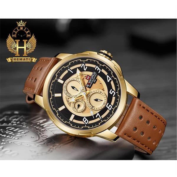 خرید ساعت مردانه نیوی فورس مدل naviforce nf9142m قاب طلایی با بند چرم عسلی