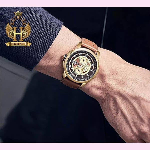 مشخصات ساعت مردانه نیوی فورس مدل naviforce nf9142m قاب طلایی با بند چرم عسلی