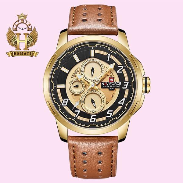 خرید اینترنتی ساعت مردانه نیوی فورس مدل naviforce nf9142m قاب طلایی با بند چرم عسلی