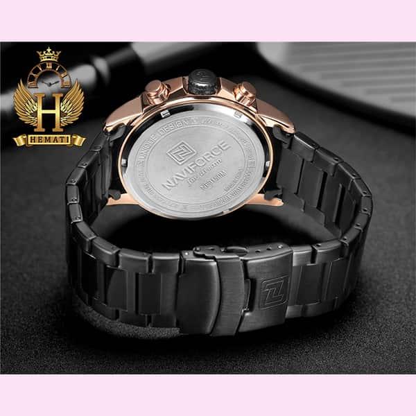 خرید انلاین ساعت مردانه نیوی فورس مدل naviforce nf9150m مشکی رزگلد