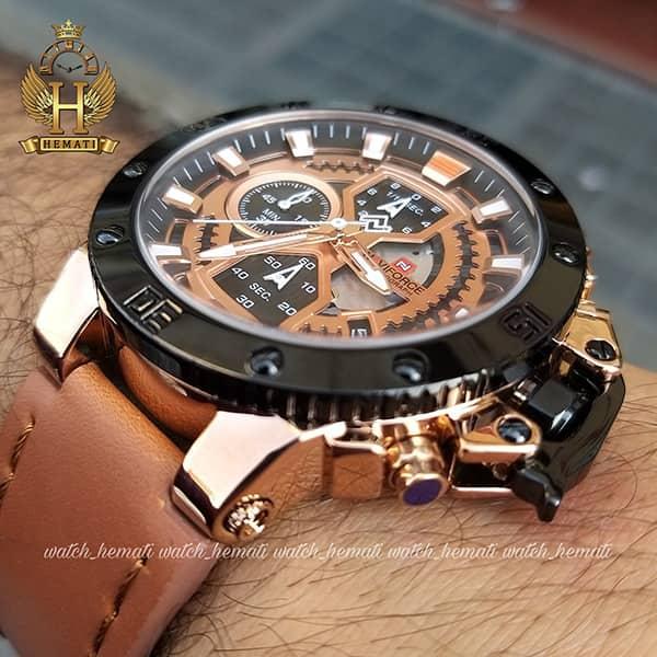 خرید ساعت مردانه نیوی فورس مدل naviforce nf9159m قاب مشکی و رزگلد با بند عسلی