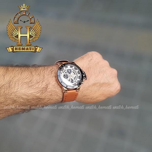 قیمت ساعت مردانه نیوی فورس مدل naviforce nf9159m قاب مشکی و رزگلد با بند عسلی