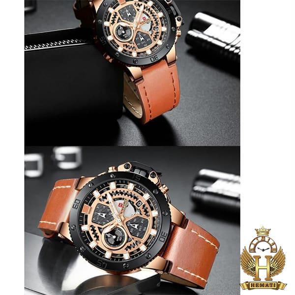 خرید انلاین ساعت مردانه نیوی فورس مدل naviforce nf9159m قاب مشکی و رزگلد با بند عسلی